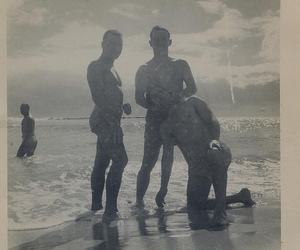 1940s, men, and beach image