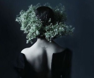 dark, flowers, and black image