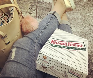 airport, krispy kreme, and bag image
