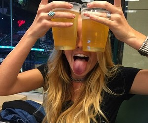 girl, blonde, and beer image