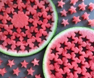 fruit, watermelon, and stars image