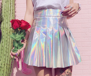 skirt, holographic, and flowers image