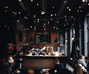 cafe, lights, and autumn image