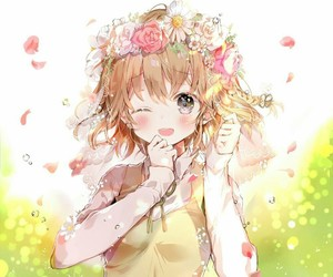 anime, flower, and yellow image