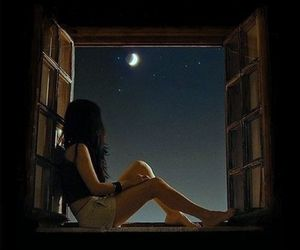 girl, window, and stars image