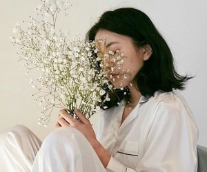 aesthetic, girl, and white image