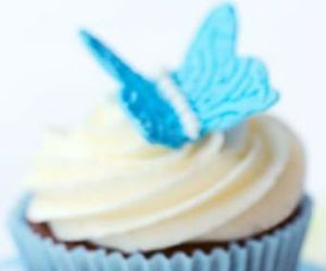 blue, butterfly, and cupcake image