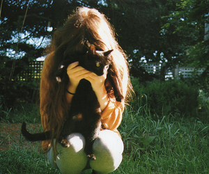 cat, girl, and vintage image