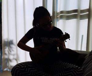 girl, ukulele, and uke image