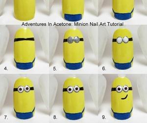 nails, minions, and nail art image