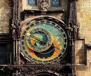 clock, prague, and astronomy image
