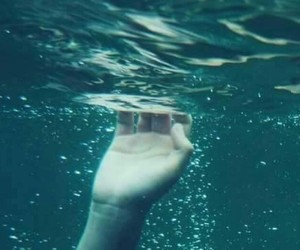 water, hand, and grunge image