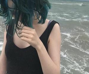 beach, black, and green hair image