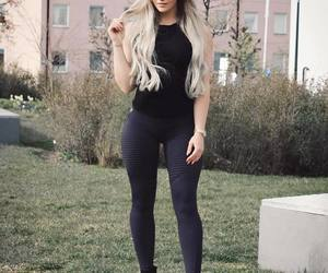blonde, fashion, and leggings image