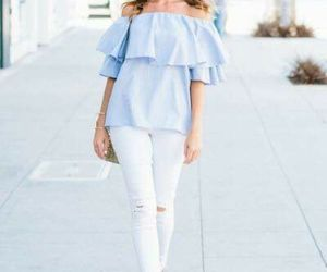 ruffle blouse, off shoulder blouses, and striped blouses image