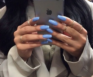 nails, iphone, and blue image