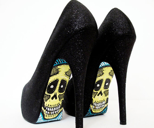 shoes, skull, and red image