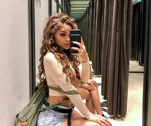 curly hair, mirror selfie, and instagram baddie image