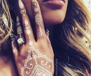 beauty, henna, and white image