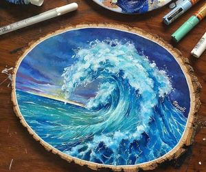 art, blue, and waves image