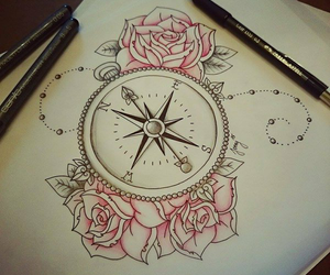 rose, drawing, and tattoo image