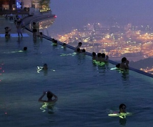 pool, city, and night image
