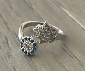 etsy, silver ring, and evil eye ring image