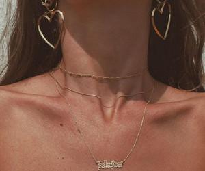 gold, necklace, and earrings image