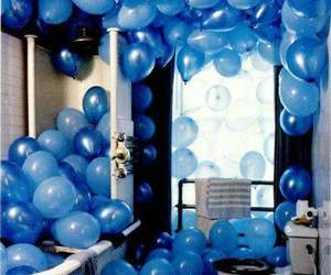 blue, balloons, and bathroom image