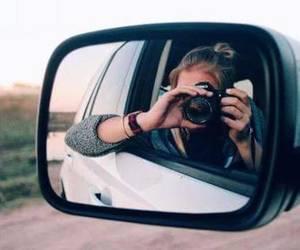 car, girl, and camera image