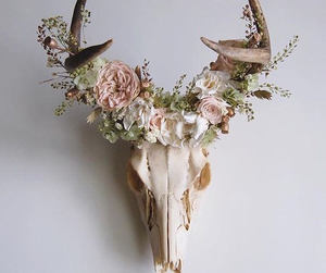 flowers, skull, and alternative image