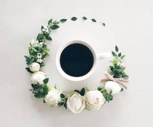 flowers, coffee, and drink image