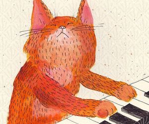 cat, piano, and illustration image