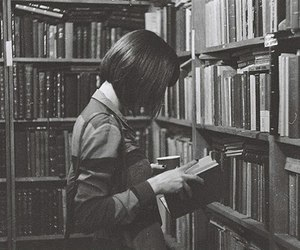 😍, b&w, and books image