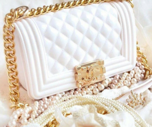 bag, white, and gold image