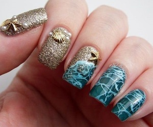 nails, beach, and nail art image