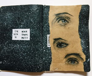 art, journal, and eye image