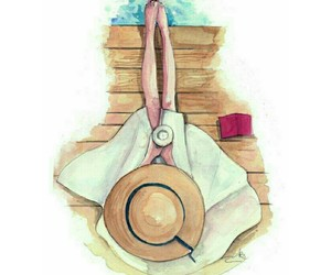 beach, fashion illustration, and straw hat image