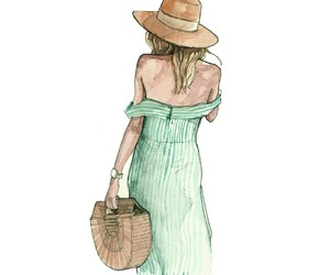 fashion illustration, straw hat, and watercolor image