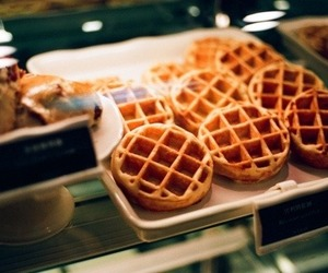 food, waffles, and photography image