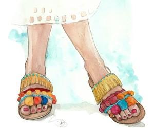 fashion illustration, pom pom, and slippers image