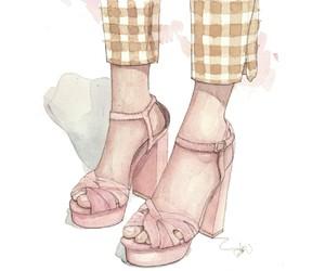 blush, fashion illustration, and high heels image