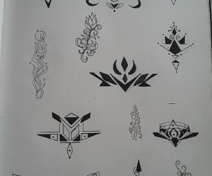 black&white, drawings, and tattoo image