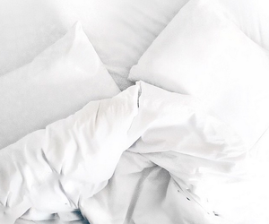 bed, white, and pillows image