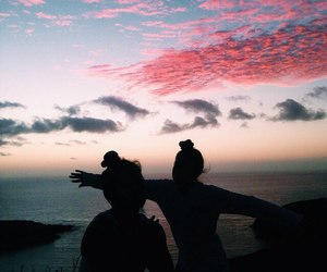 girl, sky, and friends image