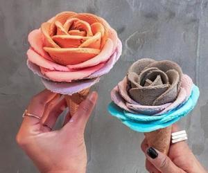 ice cream, food, and flowers image