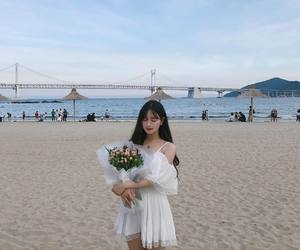 korean, girl, and beach image