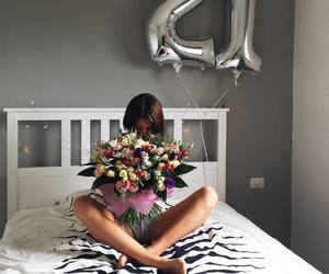 girl, flowers, and 21 image