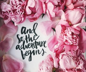 flowers, peonies, and quote image