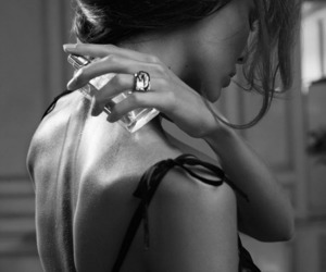 black and white, perfume, and woman image